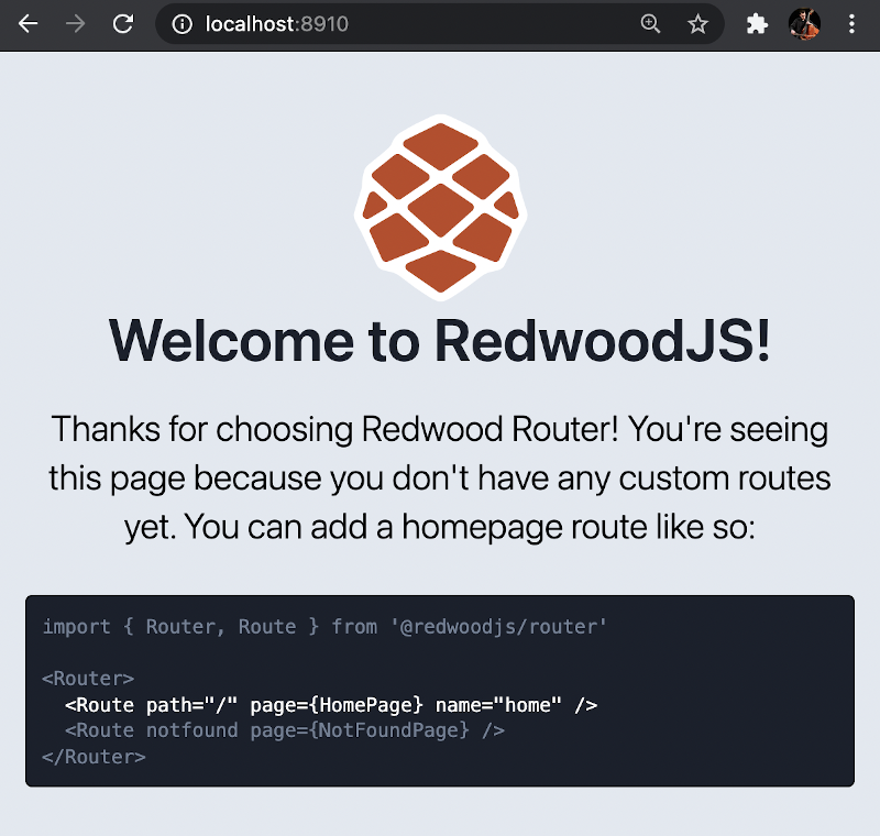 the default Redwood site
